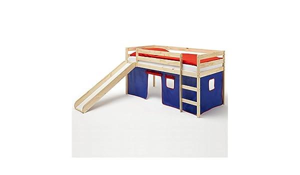 Cama cuna entrepiso antideslizante con tobogán BENNY, madera maciza de pino, con cortina en azul/rojo: Amazon.es: Juguetes y juegos