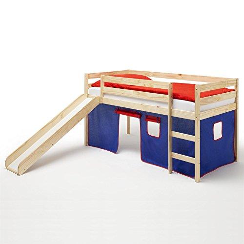 Spielbett Rutschbett Hochbett mit Rutsche BENNY, Kiefer massiv, mit Vorhang in blau/rot