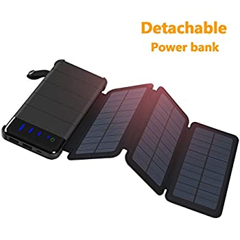 Solar Charger ADDTOP Detachable Solar Power Bank 10000mAh with 3 Solar Panels Waterproof Foldable Portable Battery Pack with LED light for iPhone, ipad,Samsung,Outdoor Camping, Travelling