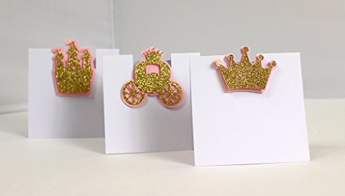 All About Details PCAPRCSSPG Shimmer Pink & Gold Princess Theme Place Cards, 12pcs, 3.5in Width and Around 3.5-4.0 in Tall