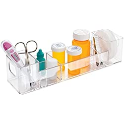 mDesign Plastic Small Bathroom Medicine Dental Cabinet Storage Organizer, for Medical Supplies, Bandages, Thermometer, Vitamins and Pill Bottles - Clear