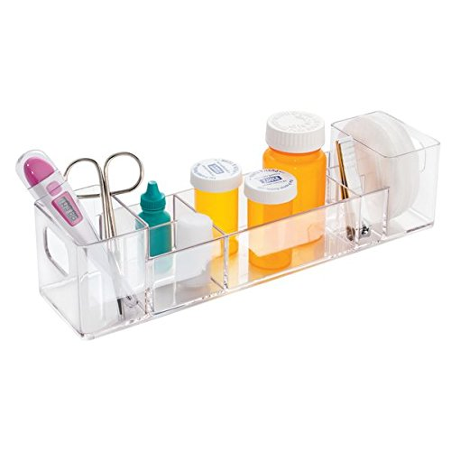 mdesign bathroom medicine cabinet organizer for medical supplies bandages thermometer vitamins clear
