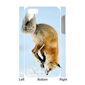 Custom Cover Case with Hard Shell Protection for Iphone 4,4S 3D case with Fox lxa#850155