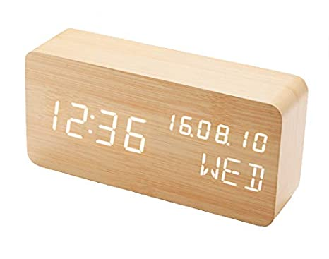 Amazon.com: FixtureDisplays Wood Alarm Clock Voice Control ...