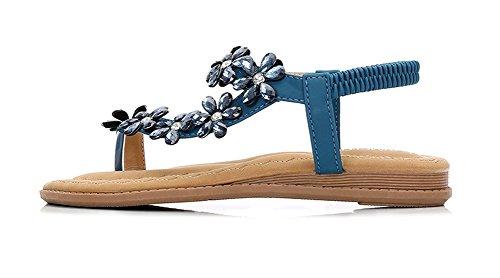 Grande Style Clip Toe Plage Femmes Bas 41 Boho 35 Confortable Chaussures Taille de Chaussures xie Plats Sandales Strass Femmes blue Ethnique 8wA7q1p1