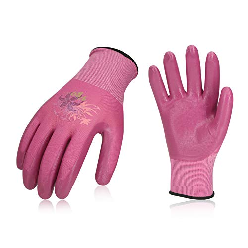 Vgo 3Pairs Nitrile Coating Gardening and Work Gloves(Size S,Red+Pink+Black,NT2110P3) (Gloves Gardening Sale)