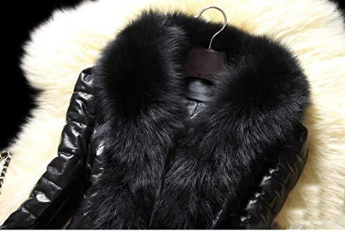 Cuero Estilo Vintage Abrigos Larga Manga Outerwear Especial Invierno Piel Chaqueta Mujer Chaqueta Schwarz Grande Talla Fit Sintética Caliente Slim Chaqueta Piel dPq8BxBO
