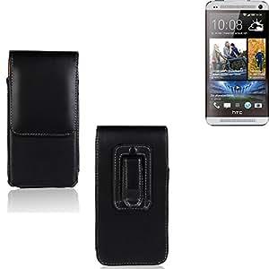 Funda para HTC One Dual SIM, la bolsa de cinturón de cuero de imitación de alta calidad en color negro | elegancia funcional simple llano. Teléfono Móvil Funda Caso bolso cruzado bolsillo clip de transporte vertical de la cubierta del bolso