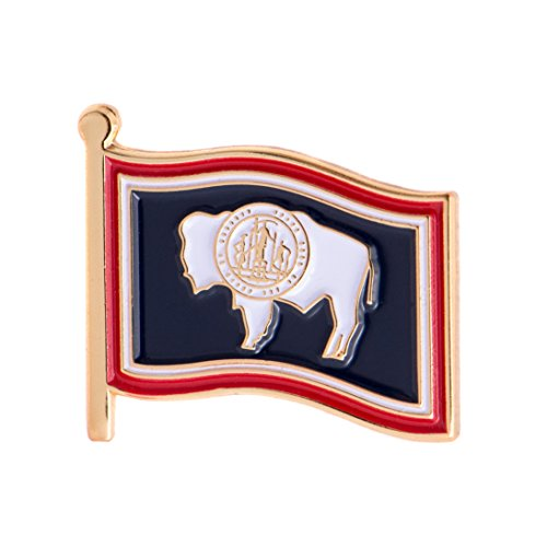 Wyoming State Flag Lapel Pin Made of Metal Souvenir (Waving Flag Lapel Pin)