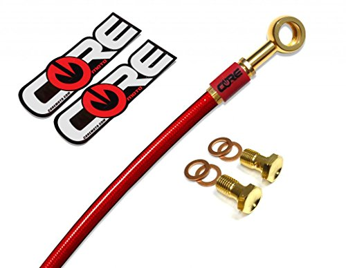 Core Moto - Suzuki SV1000S 2003-2007 Performance Rear Brake Line - Translucent Red Line 24K Gold Plated Banjos and Bolts Red Logo Tags - Size: Stock + 6