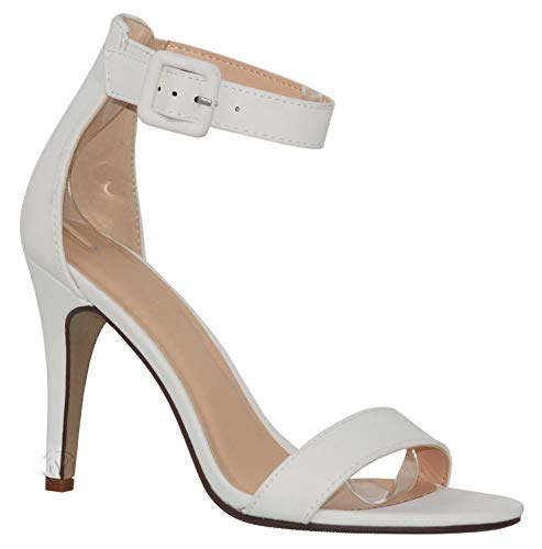 MVE Shoes Women's Single Ankle Strap-Classy Kitten Heeled Sandal, Juicy White nbpu 11