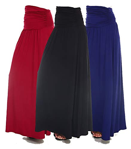 Isaac Liev Women's Ruched Maxi Skirt 3-Pack (Large, Black, Burgundy & Navy)