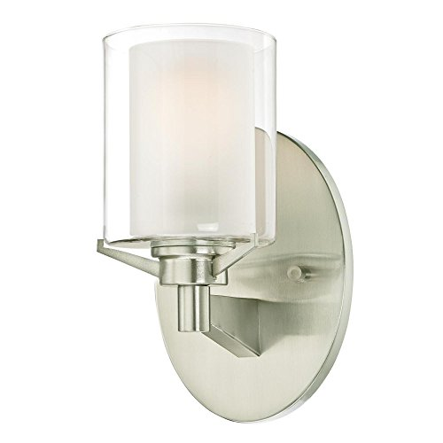 Westinghouse Lighting 6331100 Glenford One-Light Indoor Wall Fixture, Brushed Nickel Finish with Frosted Inner and Clear Glass Outer Shade