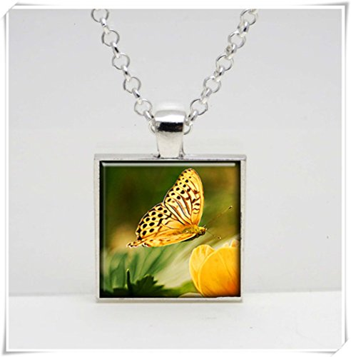 Handmade Striped Glass Necklace - Yellow Striped Butterfly,Glass Tile Pendant Necklace, pure hand made