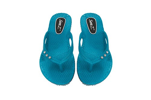 Old Navy Wedge Flip Flops (Sara Z Womens Racing and Rhinestones Size Braided Texture Flip Flops 5/6 Turquoise)