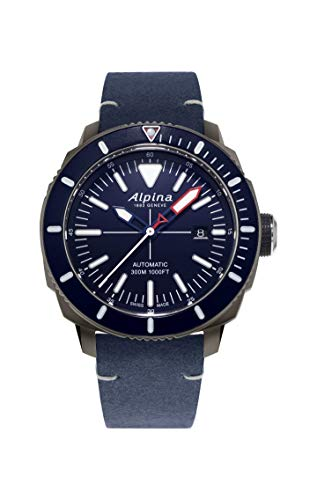 Alpina AL-525LNN4TV6 Seastrong Diver 300 TI Navy Ring Leather Strap Watch
