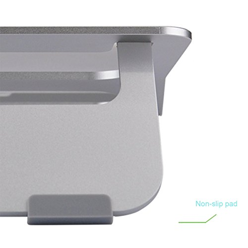 "CCdo Office Aluminum Laptop Stand - Matte Surface Anti-Slide Desk iPad Notebook Stand Raiser Ventilated Ergonomic Design Notebook Cooling Stand Holder for 9"" - 17"" Ultrabook MacBook Air/Pro - Silver by CCdo (Image #3)"
