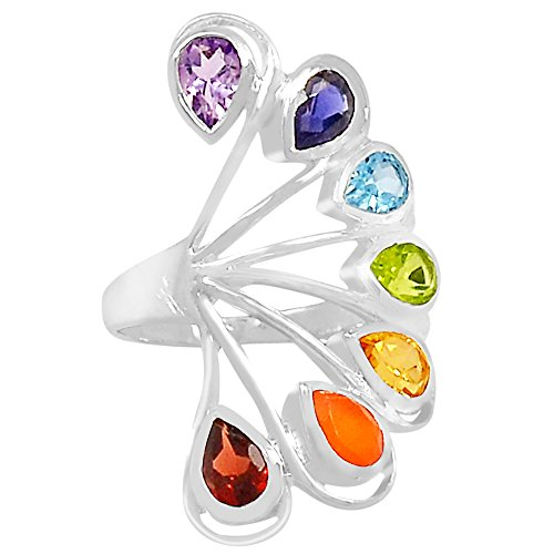 Xtremegems Healing Chakra 925 Sterling Silver Ring Jewelry Size 6 CP234-6 from Xtremegems
