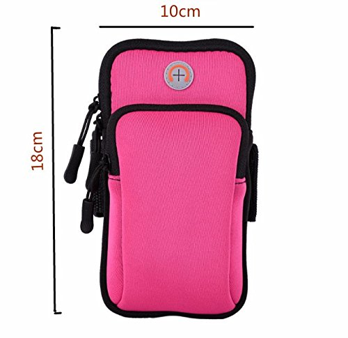 ODS Sports Arm Bag Outdoor Sports Case Waterproof Arm Bags Big Space Double Pockets Running Bags wwith Headphone Hole-Rose Red