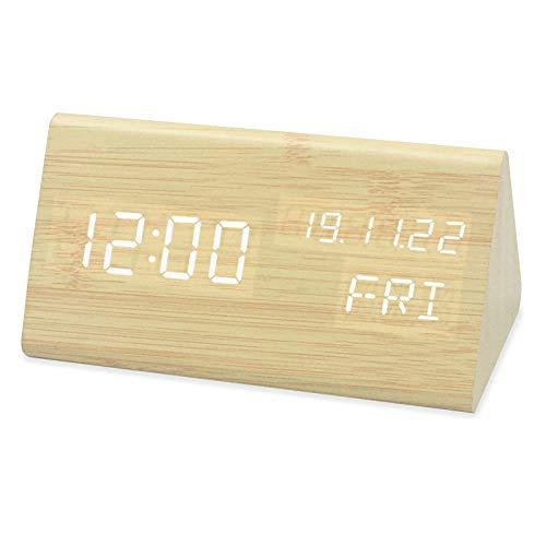 Yzllq Reloj Despertador de Madera LED Creativo, Reloj de Mesa ...