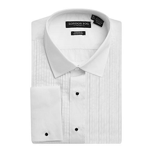 London Fog Men's Laydown Collar French Cuff Tuxedo Shirt White-16.5 - Collar Laydown White Shirt Tuxedo