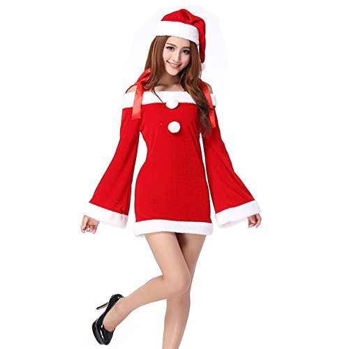 TEMPT Womens Sexy Christmas Costumes Off Shoulder Cosplay Lingerie Dress Holiday Santa Claus (80 S Outfit)