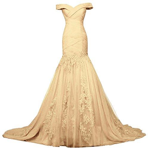 Bess Femmes Mariée Robes Robes De Bal Sirène En Tulle Dentelle Épaule Dentelle En Or Du Soir