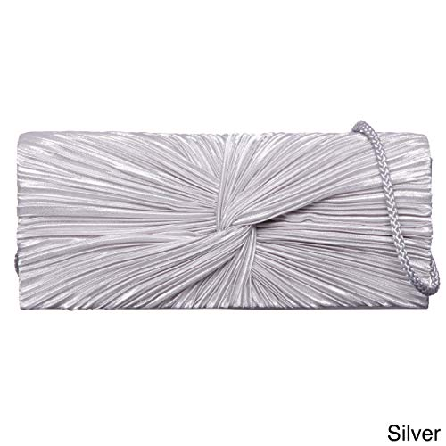 J. Furmani Satin Flap Clutch Silver ()