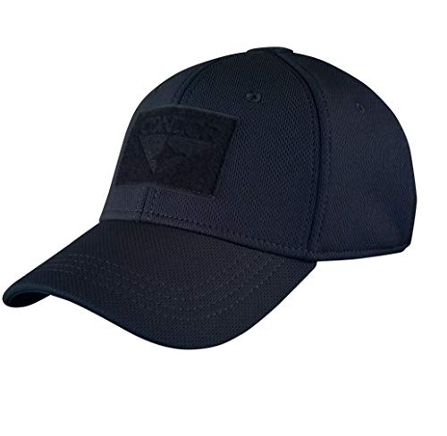 Condor Flex Cap (Navy) - Highly Breathable - Two Sizes Fitted Tactical Operator Cap (Large/XLarge) (Fitted Hats With Patch)