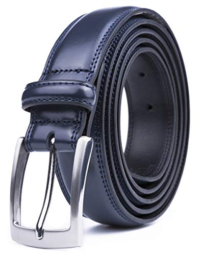 Basic Design Dress - Navy Leather Belt for Men, Fashion & Classic Design for Dress and Causal (Size 30 (Waist 28), Basic Navy)
