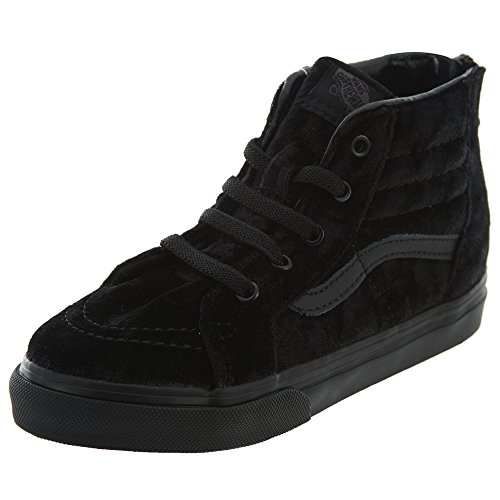 Vans SK8 HI ZIP Velvet Black Toddler Girl Shoes -