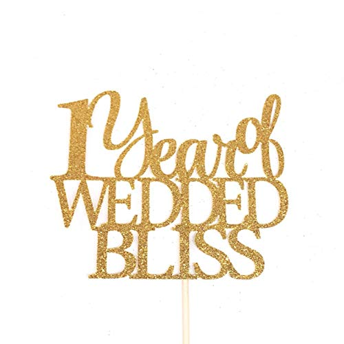 Cheyan 1 Year Of Wedded Bliss 1St Anniversary Wedding Celebration Topper Marriage Celebration Marriage Anniversary One Cake Topper Wedding Anniversary Party Favors Wedding Gifts for Bride and Groom (Wedding Bliss Cake Topper)