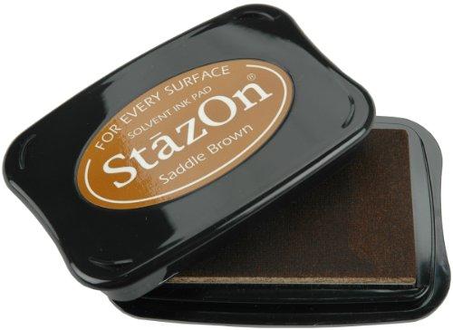 Tsukineko Full-Size StazOn Multi-Surface Inkpad, Saddle Brown by Tsukineko