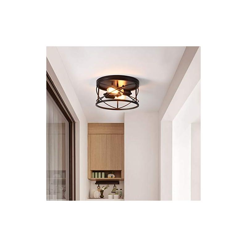 2-Light Flush Mount Ceiling Light Fixture, Industrial Modern Black Ceiling Lamp, Vintage Farmhouse Light Fixture for…