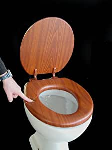 ADOB - Asiento de inodoro con tapa blanda, diseño madera de roble