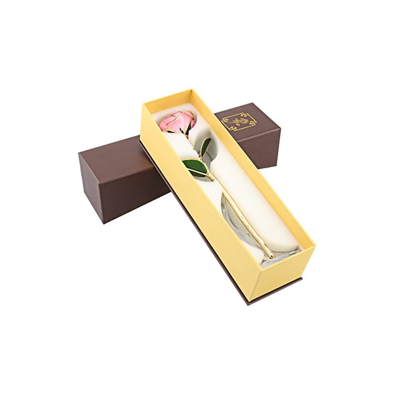 silk flower arrangements ttobs dipped 24k gold rose with gift box is good gift on valentine's day mother's day lover's birthday anniversary (pink)