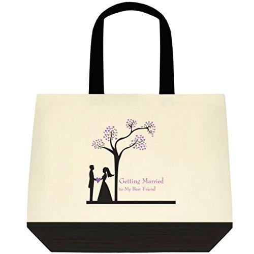 Getting Married to My Best Friend Wedding Bride Tote Bag - PURPLE DESIGN
