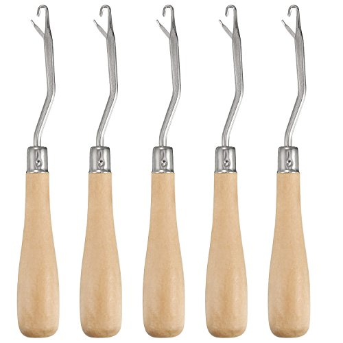 Pangda 6.2 Inch Wooden Bent Latch Hook Crochet Needle Hook Tool, Set of 5