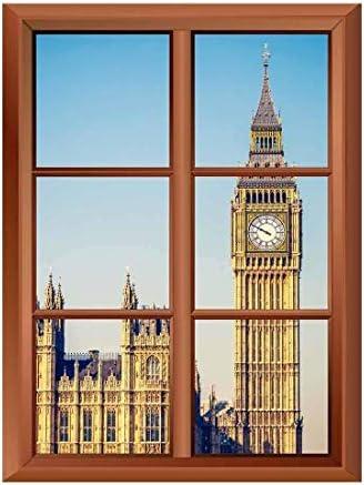 Wall26 Removable Wall Sticker/Wall Mural - Big Ben Tower in London - Creative Window View Vinyl Sticker - 36