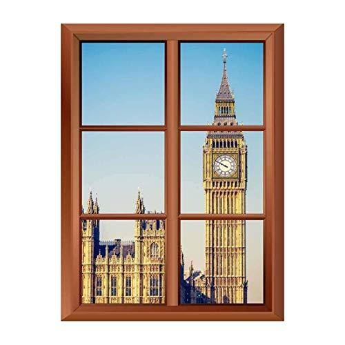 Removable Wall Sticker Wall Mural Big Ben Tower in London Creative Window View Vinyl Sticker