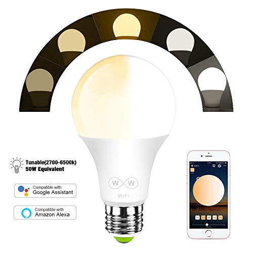 MagicLight WiFi Smart Light Bulb, Tunable, Soft White To Daylight (2700K-6500K), 50w Equivalent Dimmable Sunrise A19 Smart Light Bulb, No Hub Required, Compatible with Alexa & Google Home Assistant