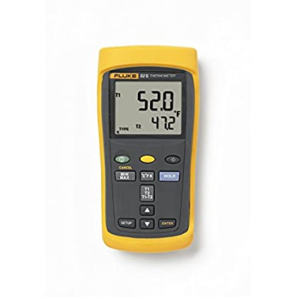 Image of Home Improvements Fluke 52-2 Dual Input Digital Thermometer with a NIST-Traceable Calibration Certificate with Data