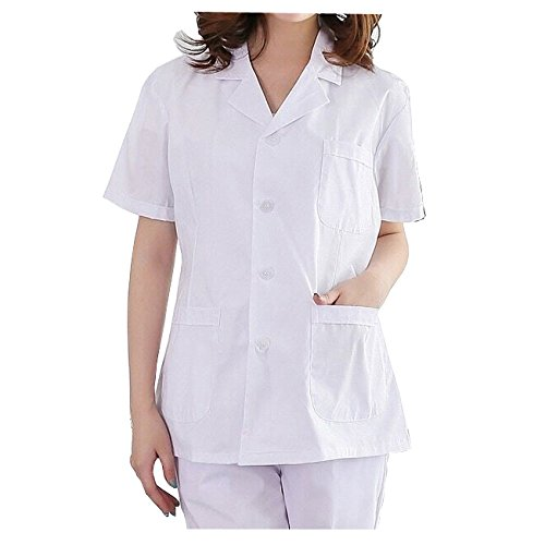 WDF Bata de Laboratorio médicos Bata Uniforme de Trabajo Enfermera Blanco Mujer Manga Corta Corto párrafo