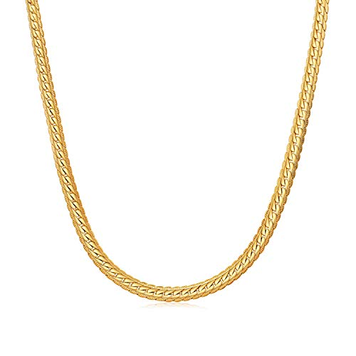WINNICACA Fake Gold Chains for Men 24k Gold Plated Italy Cuban Hip Hop Chain Link Necklace Fashion Jewelry 22inches,5mm Wide Unisex ()