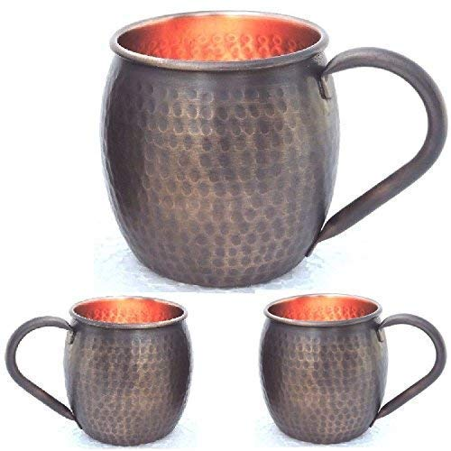 Staglife Antique Copper Cups and Copper Mugs for Moscow Mules Gift Set of 2 for Christmas - New Year | Handcrafted – Food Safe Pure Solid Mule Mugs