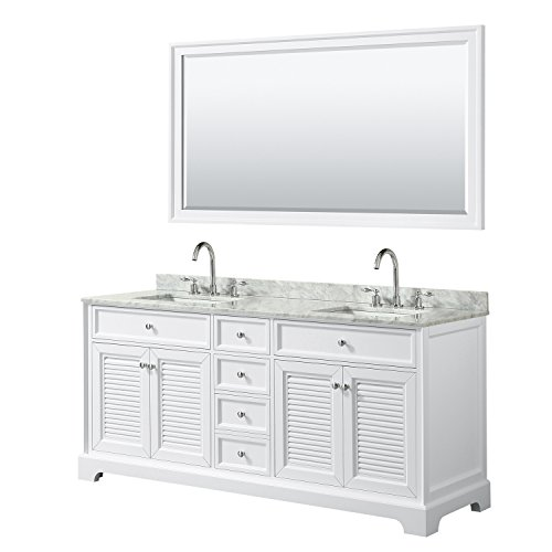 Wyndham Collection Tamara 72 inch Double Bathroom Vanity in White, White Carrara Marble Countertop, Undermount Square Sinks, and 70 inch Mirror