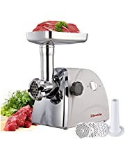 Sunmile SM-G31 ETL Electric Meat Grinder Max1HP 800W Stainless Steel Cutting Blade, 3pcs Stainless Steel, Cutting Plates,1 Big Sausage Attachment