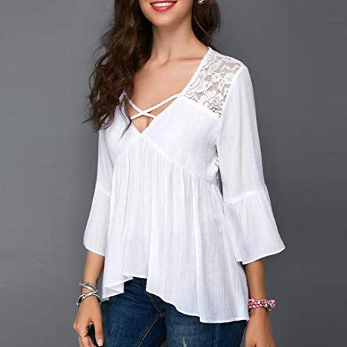 Blusa Cuello Encaje Cuello Top Mujer Camiseta sin de de Gasa de de Zarupeng Empalme Atractivo para Alto UaEzUwq1