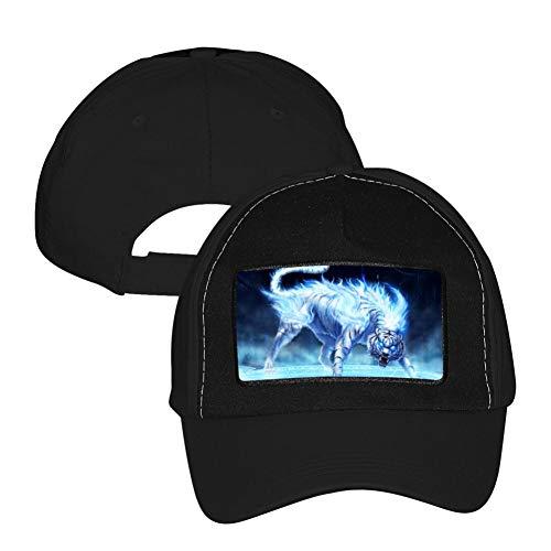 (Flaming Ice TigerDad Baseball Cap for Men/Women/Kid Adjustable Original Baseball Dad Hat for Sport)