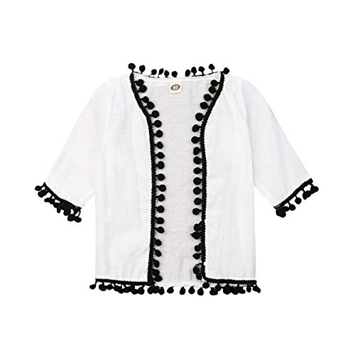 Toddler Beach Cover Up Baby Girl Beach Long Sleeve Tassel Shawl Open Outwear Infant Sun UV Protection Coat Clothes 0-3Y (2-3Y, White)